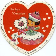 Vintage Mid Century Cupcake Princess with Kitten Valentine Card Valentine Decorations, Valentine Crafts, Valentine Day Cards, Happy Valentines Day, My Funny Valentine, Vintage Valentines, Vintage Winter, Vintage Holiday, Holiday Candy