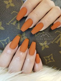 Nail salon in Prince George. Offering the best Nail, Lash, and Waxing services. Orange Acrylic Nails, Orange Nails, Summer Acrylic Nails, Cute Acrylic Nails, Summer Nails, Fall Toe Nails, Cute Nails For Fall, Aycrlic Nails, Nails For Autumn