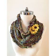 Sunflower scarf, Blue Infinity scarf, blue scarf, summer scarf, hand... (41 CAD) ❤ liked on Polyvore featuring accessories, scarves, blue infinity scarves, circle scarves, crochet round scarf, blue scarves and infinity scarf