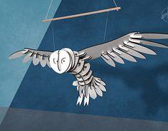 PANEL présente Claudine Megachouet Harfang on Behance, Une chouette en bois à suspendre dans vos intérieurs. Création originale et artisanale - owl in wood for interior design - www.atelierpanel.com #owl #interiordesign #mobile #owlinwood