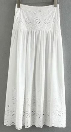 Hollow Out High Waisted High Slit White Lace Summer Maxi Skirt #Boho #Chic #White_Lace #Summer #Maxi #Skirt #Fashion