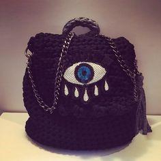 Bag crochet backpack black by matronacrochet on Etsy https://www.etsy.com/listing/521873777/bag-crochet-backpack-black