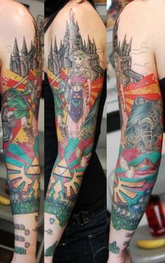 I think nearly element of Legend of Zeldais represented in this full sleeve tattoo.
