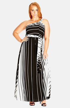 City Chic 'Holiday' Convertible Stripe Halter Maxi Dress (Plus Size) available at #Nordstrom