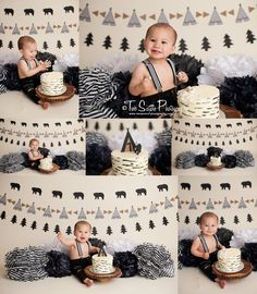 Two Sisters Photography bear first birthday, black bear cake smash, modern cake smash, modern boy first birthday, tribal, teepee, woodland cake smash