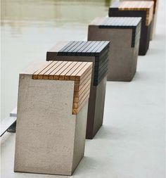 Avenue Road avenue-road.com Designed by Atelier Vierkant, ZS outdoor stools are minimalist forms fashioned out of a clay-based aggregate that can be tinted black, white, extra-white, or gray.