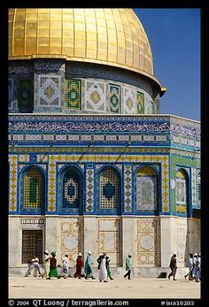 Dome of the Rock. Jerusalem, Israel,Part of gallery of color pictures of Middle-East by professional photographer QT Luong, available as prints or for licensing. Israel Palestine, Jerusalem Israel, Islamic Architecture, Art And Architecture, Dome Of The Rock, Beautiful Mosques, Jewish Art, Place Of Worship, Holy Land