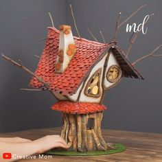 FAIRY TREEHOUSE A fairytale-like treehouse made of cardboard & forest twigs!A fairytale-like treehouse made of cardboard & forest twigs! Diy Crafts Hacks, Diy Home Crafts, Diy Arts And Crafts, Creative Crafts, Crafts For Kids, Twig Crafts, Fairy Crafts, Craft Stick Crafts, Forest Crafts