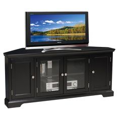 Leick Riley Holliday 56 in. Corner TV Stand - Black - 83386