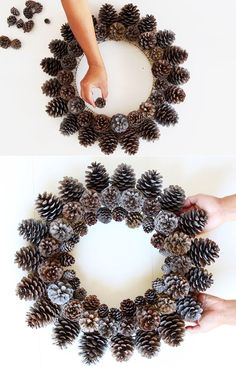 Easy & long lasting DIY pinecone wreath: beautiful as Thanksgiving & Christmas decorations & centerpieces. Great pine cone crafts for fall & winter! - A Piece of Rainbow # Easy DIY wreath Beautiful Fast & Easy DIY Pinecone Wreath ( Imp Pine Cone Art, Pine Cone Crafts, Wreath Crafts, Diy Wreath, Pine Cones, Pine Cone Wreath, Easy Christmas Decorations, Pine Cone Decorations, Christmas Centerpieces