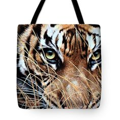 Tiger Eyes By Alan M Hunt Tote Bag by Alan M Hunt Rusty Spotted Cat, Black Footed Cat, Iberian Lynx, Sand Cat, Tiger Eyes, Clouded Leopard, Tiger Art, Mountain Lion, Photorealism