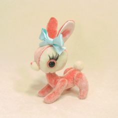 Peony the Baby Hare by violetpi on Etsy Vintage Pink, Vintage Toys, Vintage Easter, Softies, Plushies, Sock Animals, Cute Animals, Amigurumi, Big Eyes