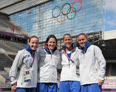 Sonia Bompastor, Elise Bussaglia, Sabrina Viguier, Camille Abily, French soccer team.  Photo F.F.F.