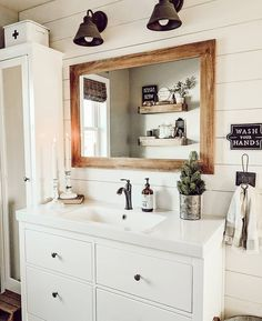 Hope you have having a great weekend! *Swipe for before* Sharing a finished renovation because I feel like we are at a stand still on… Dream Bathrooms, Beautiful Bathrooms, Small Bathroom, Barn Bathroom, Master Bathroom, Powder Room Decor, Powder Rooms, Home Board, Bathroom Inspo