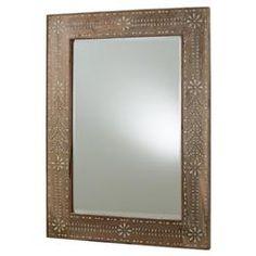Bila Bazaar Floral Bone Inlay Wood Mirror | Kathy Kuo Home