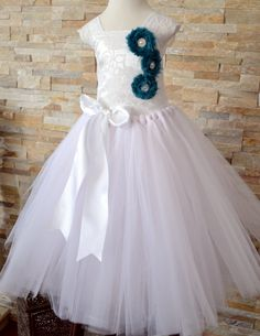 Formal Flower Girl Tutu Dress Satin Vintage Lace Flowers by 1583Designs ANY COLORS wedding portraits special event occasion rhinestones pearls