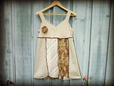 Woodland Upcycled Babydoll Tank Top Tunic// Medium by emmevielle, $59.00