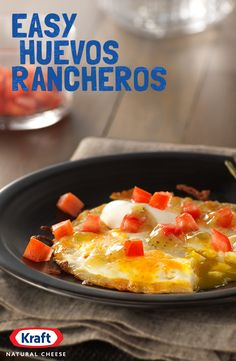 Sour cream, salsa and delicious KRAFT Mexican Four Cheese over eggs, how does that sound for breakfast? All the amazing flavor of Kraft Natural Cheese, now with less mess and less fuss. http://www.kraftrecipes.com/recipes/easy-huevos-rancheros-191320.aspx