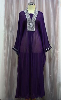 LIMITED EDITION - Moroccan Caftan Dark Purple Sheer Chiffon Fancy Sequin Arabic Abaya Dubai Maxi Dress farasha Style Jalabiya. $66.55, via Etsy.