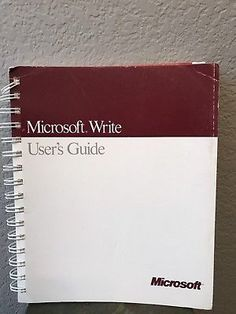 Rare Vintage 1987 Microsoft Write User's Guide