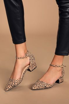 The Lulus Lucinda Tan and Black Baby Cheetah Suede Ankle Strap Pumps will keep you styling! Cheetah print pumps with a pointed to and ankle strap. Low Heel Shoes, Low Heels, Pumps Heels, Suede Pumps, Women's Shoes, Peep Toe Shoes, Nude Heels, Black Heels, Stiletto Heels
