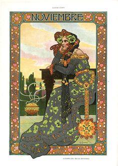 Gaspar Camps i Junyent (Spanish, painter, illustrator and poster artist of the Art Nouveau and Art Deco. From the Barcelona magazine Álbum Salón Art And Illustration, Illustrations, Character Illustration, Design Art Nouveau, Art Nouveau Poster, Walter Crane, Alphonse Mucha Art, Retro, Inspiration Art