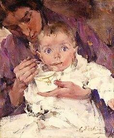Nicolai Fechin (1881 – 1955, Russian): Feeding Baby