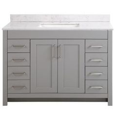 Home Decorators Collection Westcourt 49 in. W x 22 in. D Bath Vanity in Sterling Gray with Cultured Marble Vanity Top in White with White Sink - The Home Depot Basin Cabinet, Vanity Cabinet, 48 Vanity, Modern Bathroom, Small Bathroom, Bathroom Ideas, Master Bathroom, Master Baths, Single Sink Bathroom Vanity