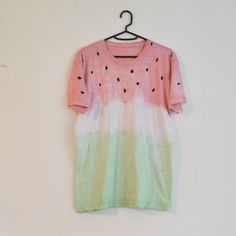 Summer Style Cute Tie Dyed Yummy Watermelon Unisex T-shirt With Pastel Red and Green Colours Hipster Indie Swag Dope Hype Mens Womens(Etsy のIIMVCLOTHINGより) https://www.etsy.com/jp/listing/192511826/summer-style-cute-tie-dyed-yummy