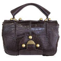 Fendi Rare Secret Code 8BN199 Brown Alligator & Mink Satchel Handbag Purse