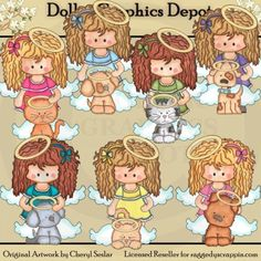 Heavenly Angels and Pets 1 - Clip Art
