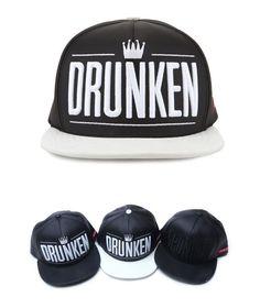Leather Drunken Crown snapback hat hiphop flat baseball cap street fashion #PREMIER #snapback