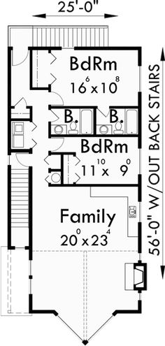 Upper Floor Plan for D-493 Duplex house plans, stacked duplex house plans, duplex house plans with garage, corner lot duplex plans, D-493