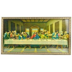 Vintage The Last Supper 3D Wall Art Religious Home Decor Framed Picture