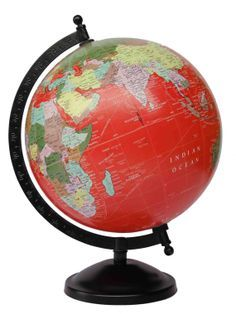 "8"" Inch Antique Globe With Black Metal Meridian And Base / Red Globe"