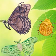 Beetles and butterflies and ladybugs... oh my! This unique freestanding lace collection - Nature's Lace - also includes several applique bugs. Cute gift idea for the nature lover!