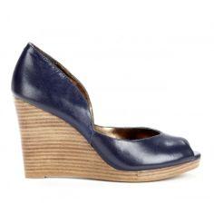 navy + wood peep toe wedges