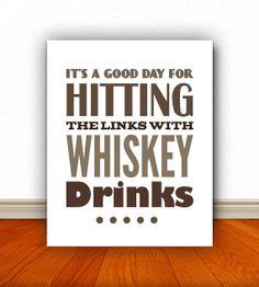 Whiskey Drinks Whiskey Print Golf Golf Art by BentonParkPrints, $12.00