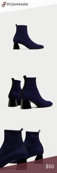 Zara size 10 Blue Striped Contrasting  Ankle Boots Brand New with Tags Zara size 10 Blue Striped Contrasting  Sock Style Ankle Boots. Great chic and trendy look  Heel Height approx 2 inches  Please be aware that measurements are estimates Zara Shoes Ankle Boots & Booties