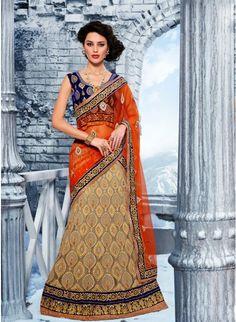 Scintillating Beige Color Net Bases #Lehenga #Choli #bridallehenga #ethnicwear #womenfashion #clothing #fashion