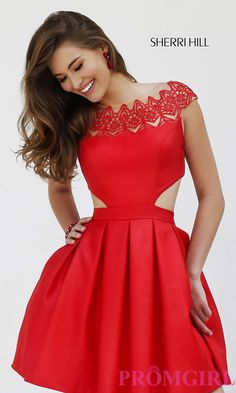 Image of Red Cap Sleeve Dress by Sherri Hill 9756 Style: SH-9756 Front Image