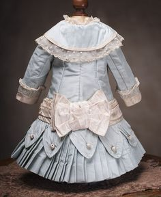 Antique French Aqua Silk Dress for Jumeau Bru Steiner Bebe doll about from respectfulbear on Ruby Lane