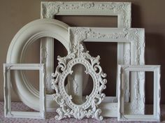 Shabby Cottage Chic Picture Frames 6 Open Frames White Large Wall Gallery Frames Vintage Inspired Ornate Romantic Cottage 11x14 8x10 5x7
