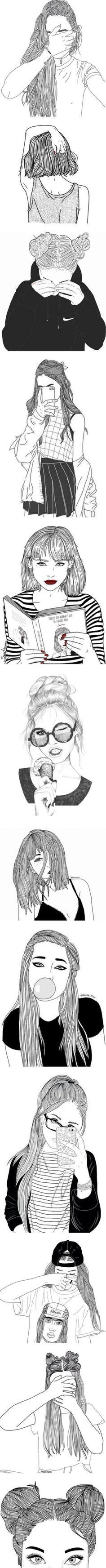 Tumblr Girl Drawings by rainst0rms on Polyvore featuring fillers, doodles, drawings, sketches, text, extras, backgrounds, outlines, phrase and quotes
