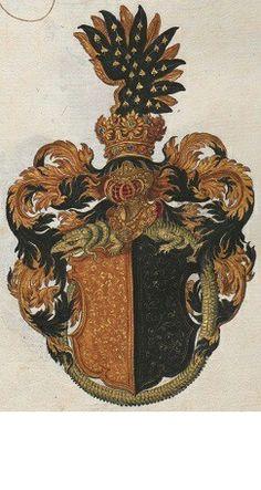 Wappen der Familie von Wartenberg mit Drachen Orden / Coat of Arms of The Family von Wartenberg with Order of The Dragon / Armas de la Familia von Wartenberg con insignia de la Orden del Dragón