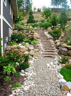 wonderful front yard rock garden landscaping 10 - All For Garden Sloped Backyard Landscaping, Sloped Garden, Landscaping With Rocks, Landscaping Ideas, Mulch Ideas, Rock Garden Design, Garden Stairs, Diy Garden, Garden Paths