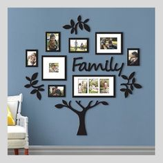 Family Tree Photo Frame Picture Collage Sticker Wall Mount Home Decor Family Tree With Pictures, Family Tree Photo, Family Tree Frame, Photo Tree, Family Tree Mural, Family Photo Frames, Family Tree Wall Sticker, Family Trees, Home Pictures