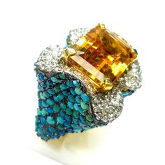 Diamond Turquoise Citrine Ring