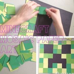 Minecraft creeper paper mosaic. For 8x8 background paper, cut 1inch squares of c...,  #1inch #8x8 #Background #Creeper #cut #Minecraft #minecraftcumpleaos #Mosaic #Paper #squares Minecraft Room, Creeper Minecraft, Minecraft Crafts, Minecraft Furniture, Minecraft Houses, Minecraft Skins, Minecraft Birthday Party, 6th Birthday Parties, Minecraft Party Games