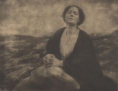 """""""The Heritage of Motherhood,"""" 1904, shows tragic side of maternity, depicting Gertrude Kasebier's friend, poet Agnes Lee, who had just lost her cherished daughter. It reflects the use of photography to convey emotion, with the grieving mother on a desolate shore serving as a generalized symbol. University of Delaware Collection, gift of Mason E. Turner Jr, 1994."""